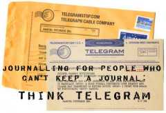 A Telegram is short and sweet.  Keep to the big details.